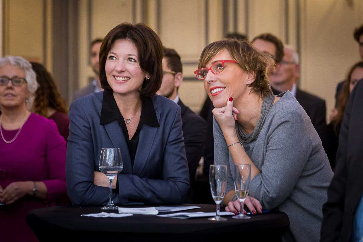 Caroline Jenner of JA Europe with an MEP smiling during the Leaders for a Day event in Brussels