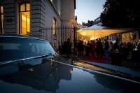 A classic car as the sun sets during an art exhibition event by Sotheby's in Brussels