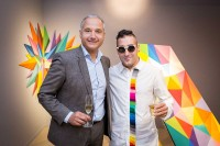 Gilles Bonan and Okuda San Miguel during an event for Roche Bobois in Brussels