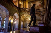 A person going up the stairs at the Palais d'Egmont during the McKinsey Awards event in Brussels