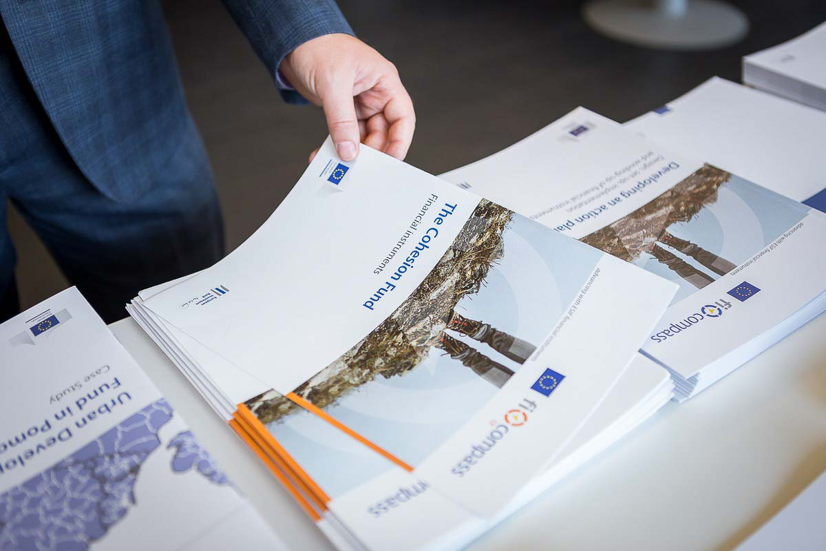 One of the booklets being taken by a guest during a conference for EURADA in Brussels