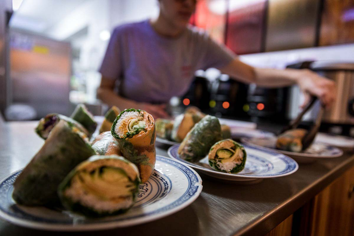 Detail of rice rolls at Knees to Chin restaurant in Sainte-Catherine, Brussels