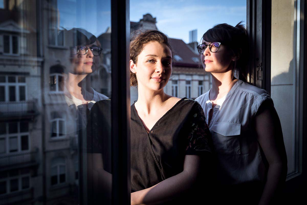 Editorial portrait of Marie Douel & Amandine David from HorsPiste in Brussels for Surface Media