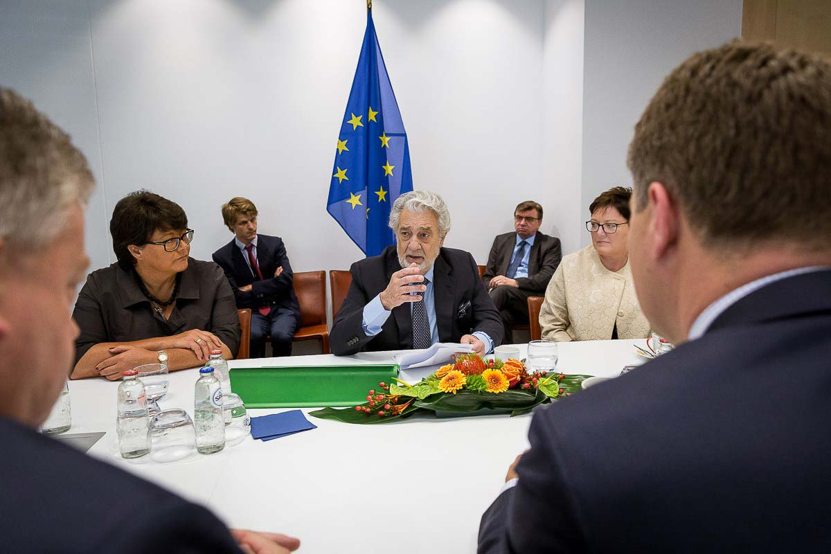 Plácido Domingo engaging with MEPs at the European Parliament in Brussels