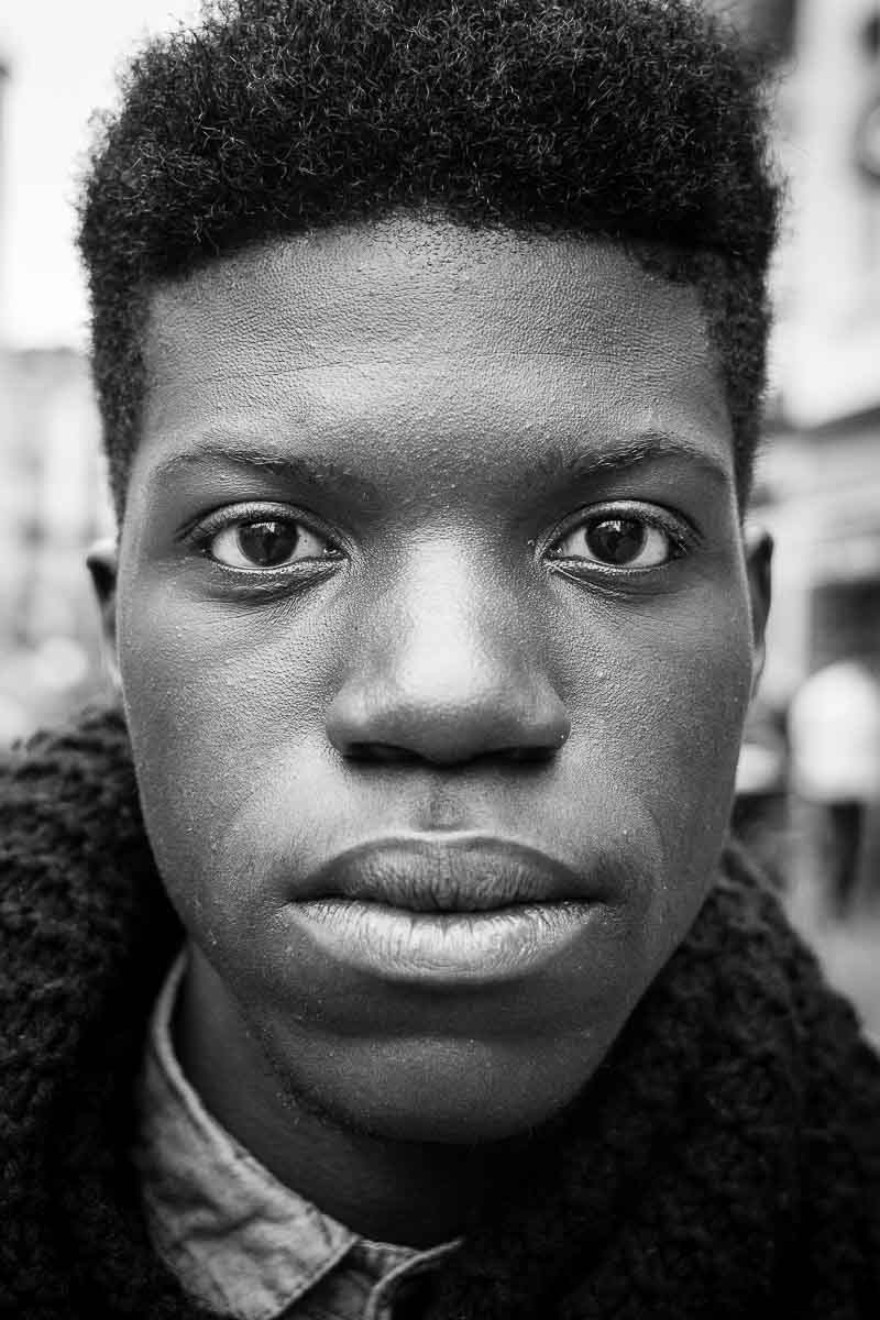 Black and white closeup portrait of a man from belgium taken in brussels