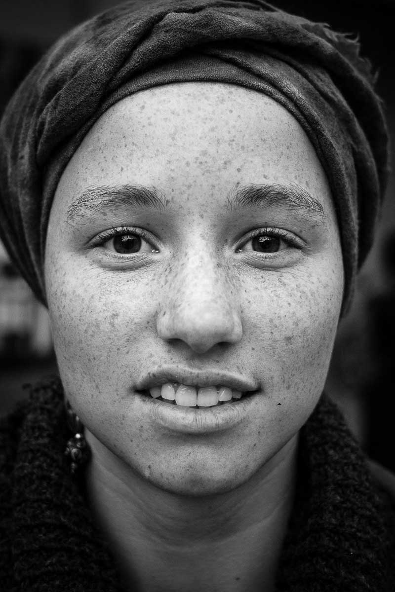 Black and white closeup portrait of a woman from belgium taken in brussels