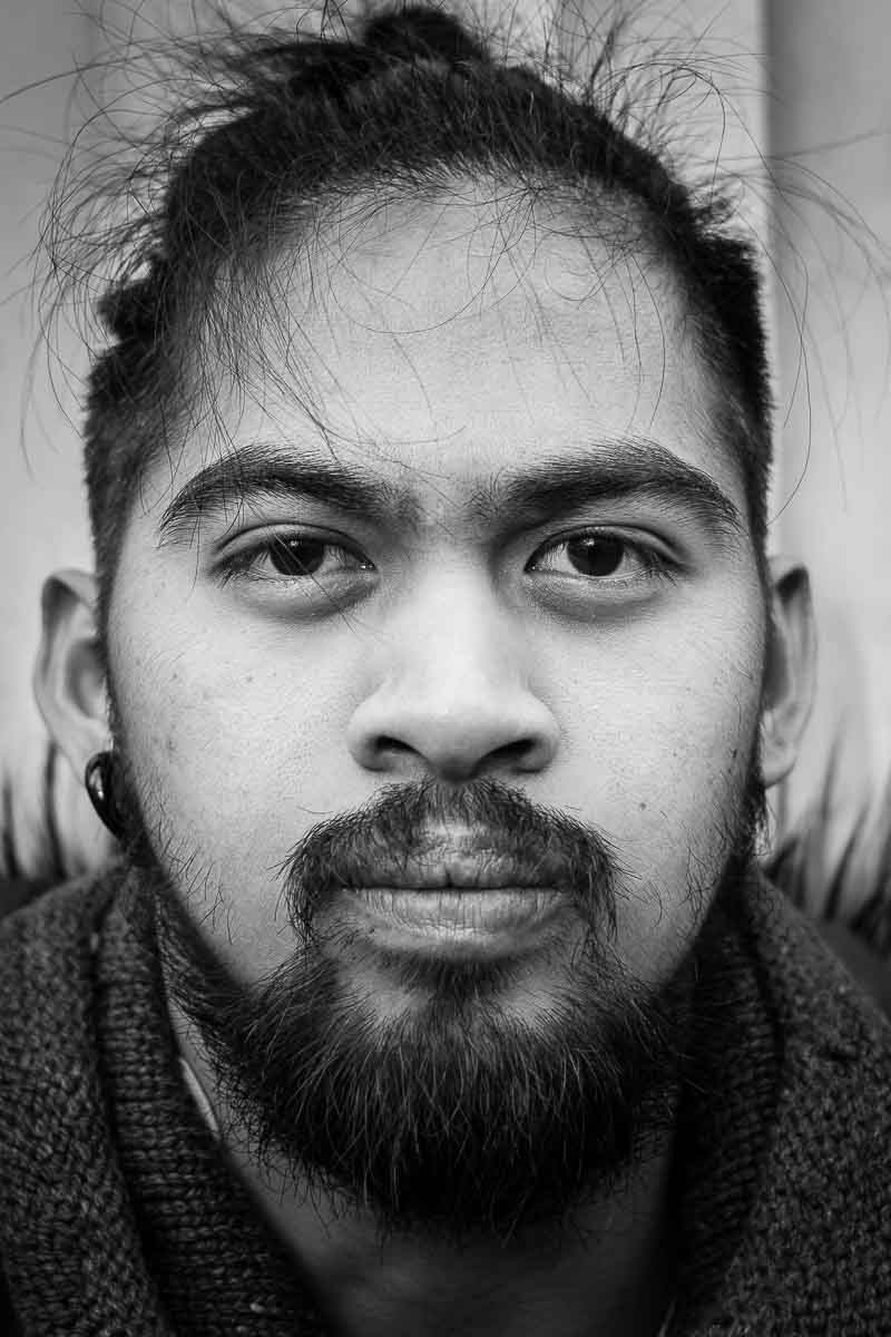 Black and white closeup portrait of a man from Philippines taken in Brussels