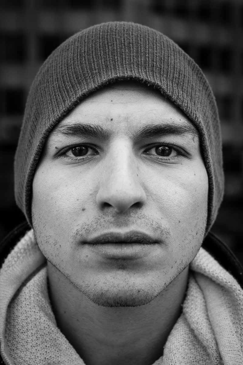 Black and white closeup portrait of a man from Italy taken in Brussels