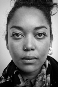 Black and white closeup portrait of a woman from Madagascar taken in Brussels