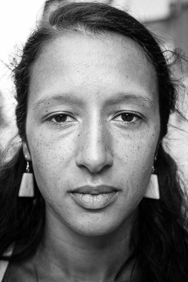 Black and white closeup portrait of a woman from Morocco taken in Brussels