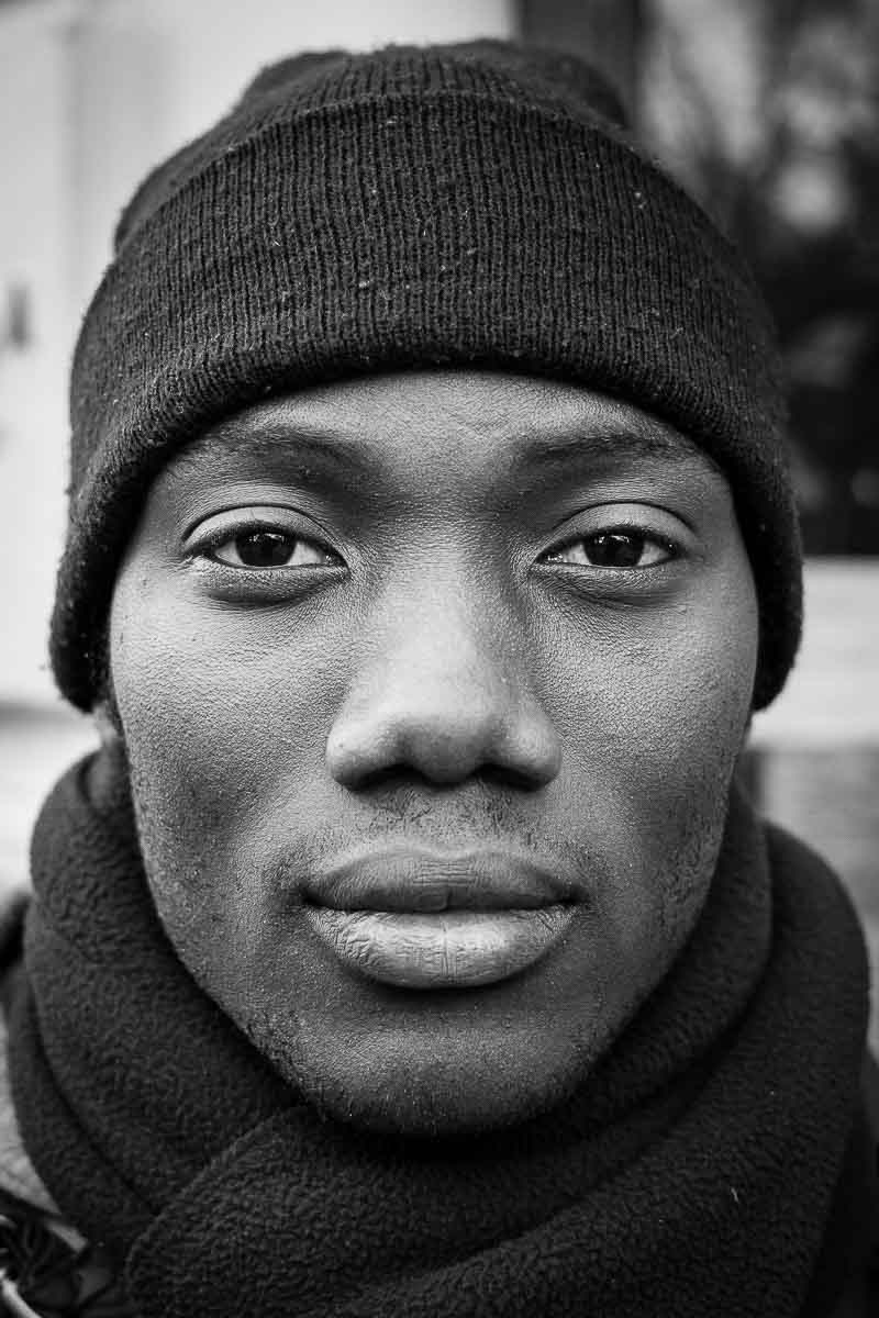 Black and white closeup portrait of a man from Togo taken in Brussels