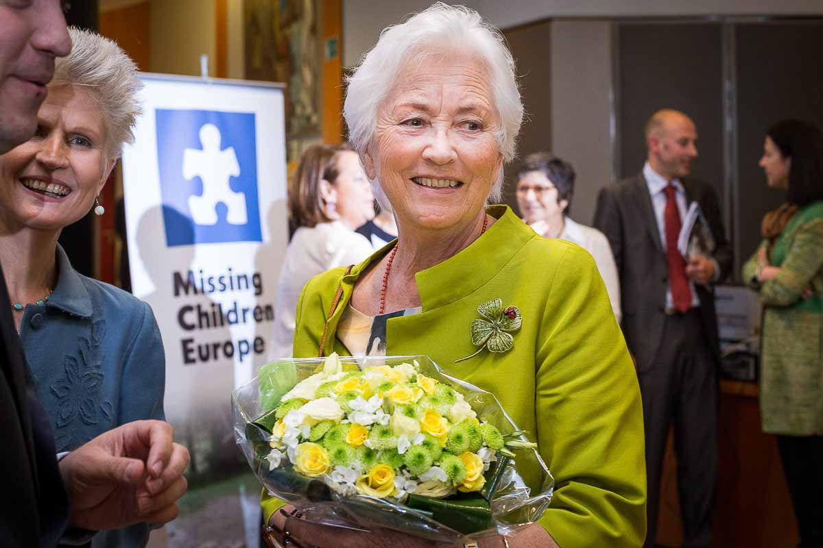 Queen Paola of Belgium during a conference for Missing Children Europe in Brussels