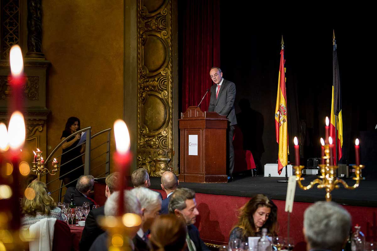 A speaker addressing the audience during a Gala dinner event in Brussels