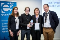 A group picture with an awardee during an event for EURADA in Brussels