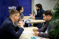 People networking engaging with each other during an event for EURADA in Brussels