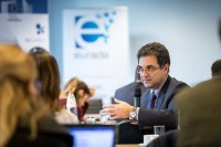 A attendee asking a question during a workshop event for EURADA in Brussels