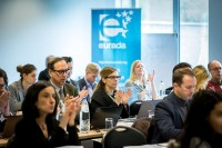 The audience applauding during a workshop event for EURADA in Brussels