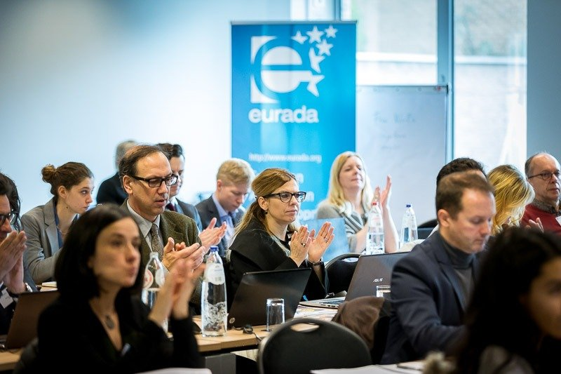 Photography assignment for EURADA: Workshop on Investment Platforms. Photo of the audience applauding one of the speakers. Taken on Wednesday, February 21, 2018, in Orega, Brussels by Dani Oshi.