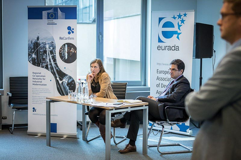 Photography assignment for EURADA: Workshop on Investment Platforms. Photo of a discussion panel while speaking. Taken on Wednesday, February 21, 2018, in Orega, Brussels by Dani Oshi.