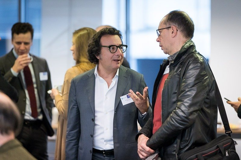 Photography assignment for EURADA: Workshop on Investment Platforms. Photo of people networking before the event. Taken on Wednesday, February 21, 2018, in Orega, Brussels by Dani Oshi.