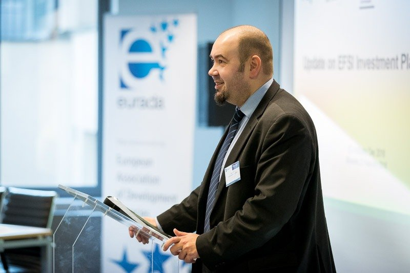 Photography assignment for EURADA: Workshop on Investment Platforms. Photo of a speaker at the beginning of the event. Taken on Wednesday, February 21, 2018, in Orega, Brussels by Dani Oshi.