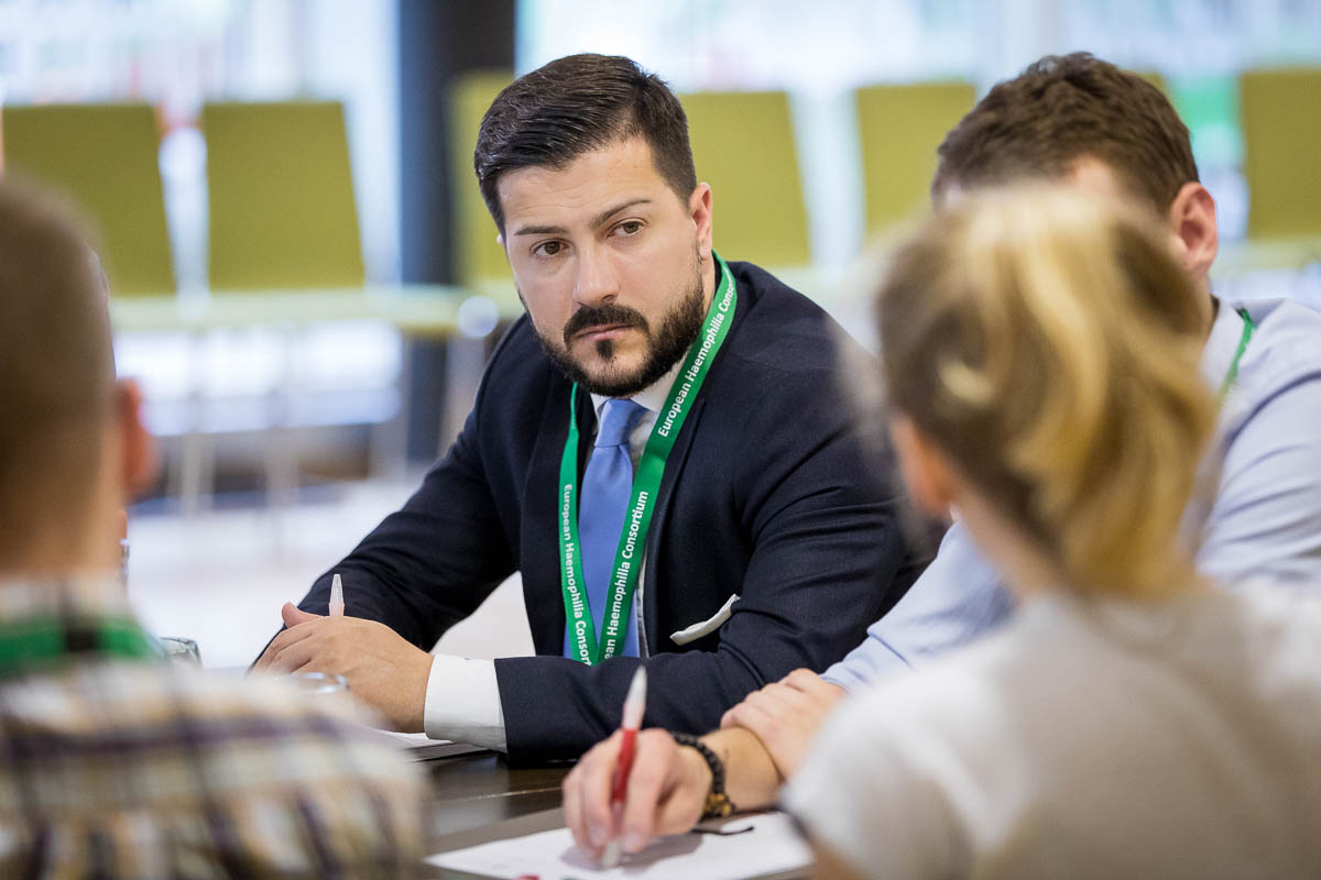 Closeup of an attendant highly focused during the EHC 2018 in Brussels