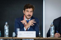 Bruno Mastantuono addressing the audience during a conference in Brussels