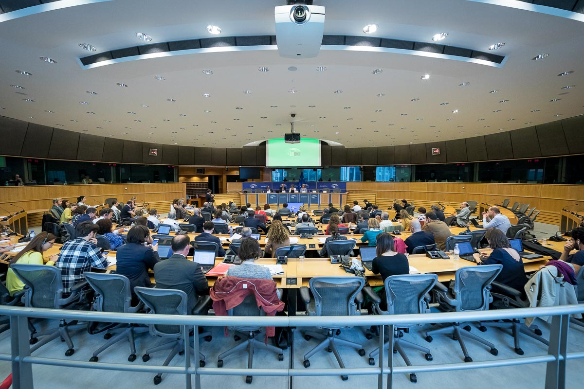 Overview of a conference room inside the European Parliament in Brussels