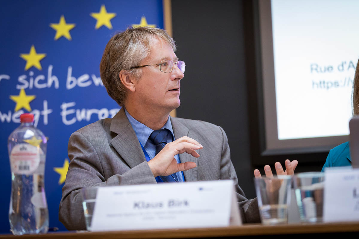 Dr Klaus Birk from German Academic Exchange Service (DAAD) during a conference in Brussels