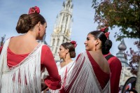 A group of Flamenco dancers prepare to dance on stage at the Groenplaats, Antwerp