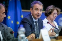 Former Spanish Prime Minister José Luis Rodríguez Zapatero at the European Parliament in Brussels