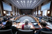 An overview of the meeting room at Palais d'Egmont during the 2018 HELCOM Meeting in Brussels