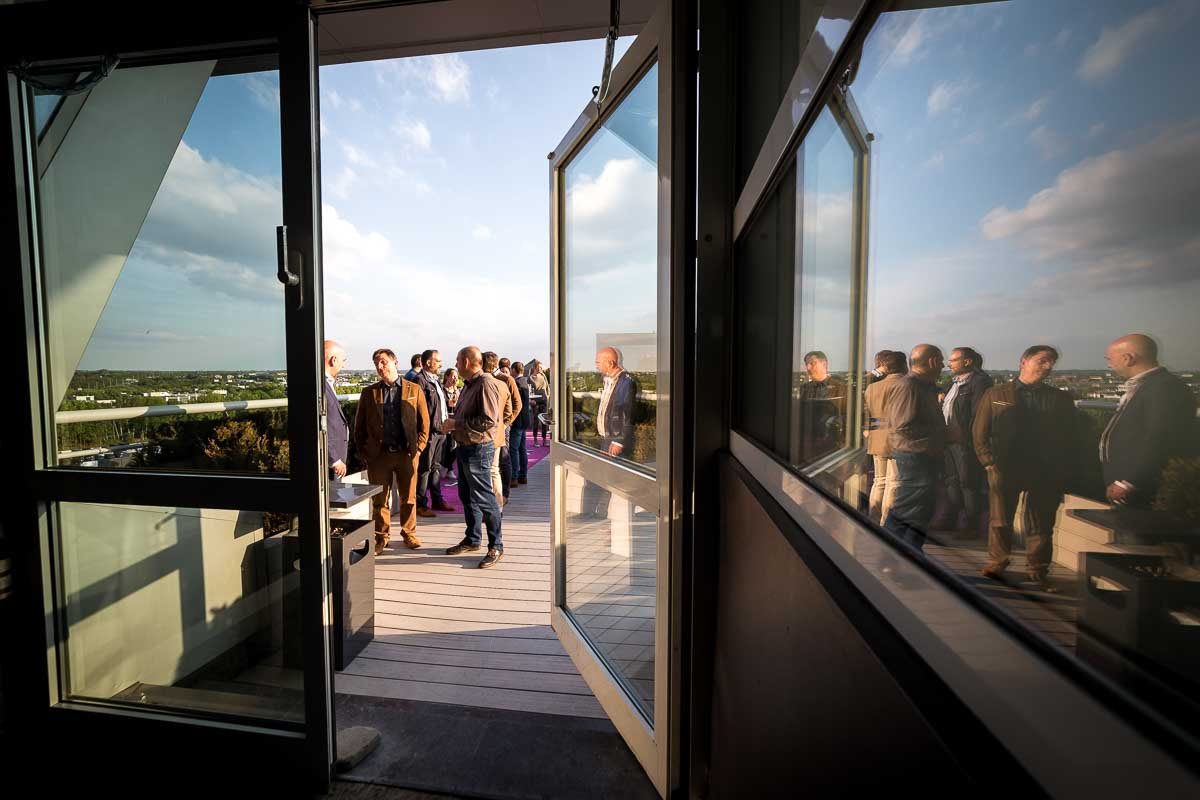 A group of people enjoys on a terrace on a Turkish Cargo event in Brussels