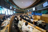 Room view inside the European Parliament during the EPP Group conference in Brussels