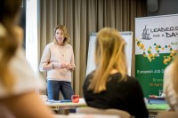 A speaker addresses her workshop students for a JA Europe event in Brussels