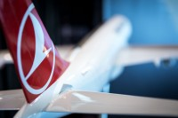 Detail of the tail of a Turkish Cargo model aircraft