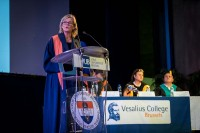 VUB rector Caroline Pauwels speech during the 2018 Vesalius College graduation day