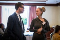 Two guests networking during a meeting for the EPF in Brussels