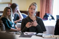 One of the guests explains her point of view during a meeting for the EPF in Brussels