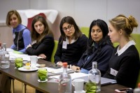 A group of women discussing in a workshop during the Why Europe Matters 2018 for JA Europe