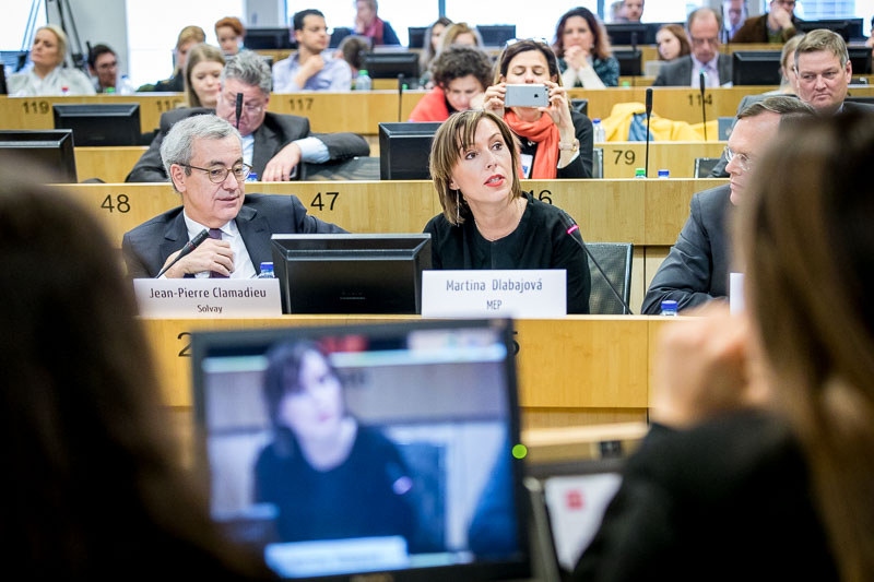 MEP Martina Dlabajová speaking in the EU Parliament during the Why Europe Matters 2018 for JA Europe