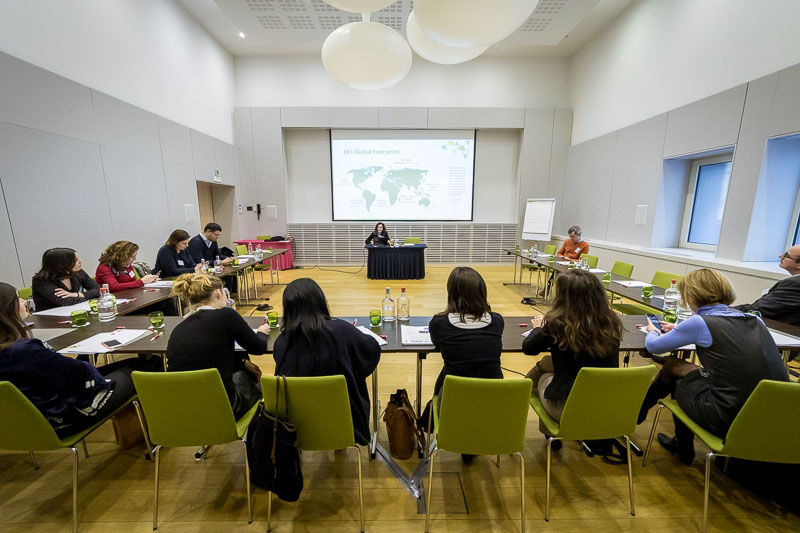 A group of people sitting in a large room at Thon Hotel Brussels during the Why Europe Matters 2018