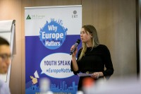 A girl gives her speech to the audience during the Why Europe Matters 2018 for JA Europe