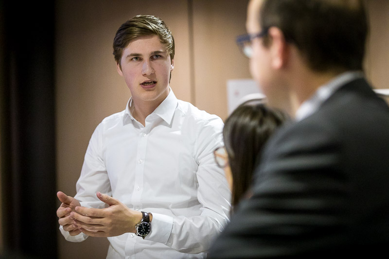 Closeup of a student giving a presentation during the Why Europe Matters 2018 for JA Europe