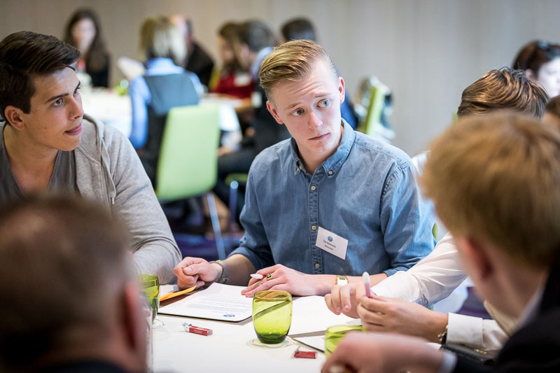 Closeup of a student in a workshop activity during the Why Europe Matters 2018 for JA Europe