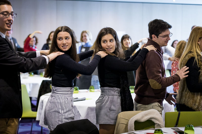 Students engaging in a dynamic massage activity during the Why Europe Matters 2018