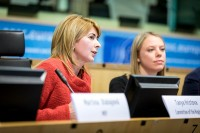 Tanya Hristova, Committee of the Regions, speaks in the EU Parliament during the Why Europe Matters 2018 for JA Europe