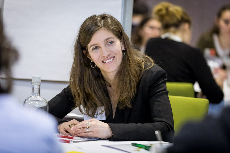 Closeup of a woman while she smiles during the Why Europe Matters 2018 event for JA Europe