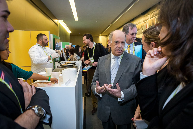 Visitors engaging and discussing about the produce during an event for APEX Brasil in Brussels