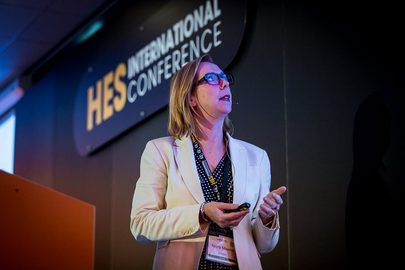A speaker looks at her presentation in the HES room during the CS International Conference 2018